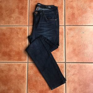 Kensie Pretty Skinny Jeans Whiskering Dark Wash 27